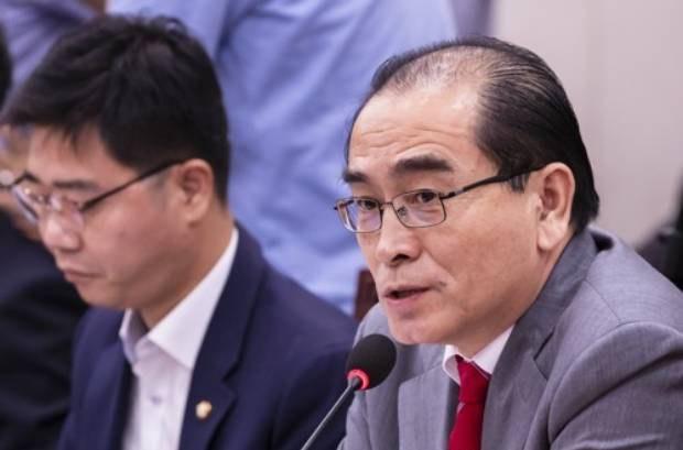 사진은 국민의 힘 태영호 의원이 국회 외교통일위원회 전체회의에서 발언하는 모습. 왼쪽은 지성호 의원.
