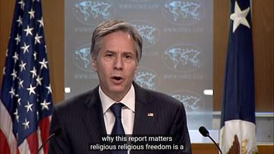토니 블링컨 국무장관이 12일 '2020 국제종교자유 보고서' 발표 기자회견에서 발표하고 있다.