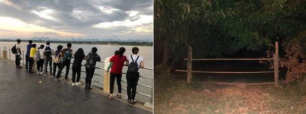 2019년 10월, 메콩강을 건너 동남아시아 제3국으로 밀입국했던 13명의 탈북민들(왼쪽). RFA 기자가 강을 건넌 밀입국한 탈북민들과 처음 만났던 장소 (오른쪽)