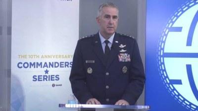 국의 존 하이튼(John Hyten) 합참차장이 17일 미 민간연구기관인 아틀란틱카운슬이 주최한 안보 간담회에서 발언하고 있다.