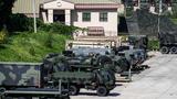 5일 경기도 동두천시 주한미군 캠프 케이시에서 미군 차량이 대기하고 있다.