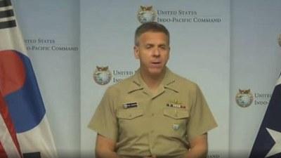 미국의 필립 데이비슨(Philip Davidson) 인도태평양 사령관이3일 미국 민간연구기관인 한미연구소(ICAS)가 주최한 한반도 안보 관련 화상회의에서 발언하고 있다.