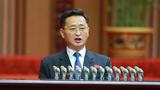지난 17일 평양 만수대의사당에서 최고인민회의를 개최했다고 조선중앙통신이 18일 보도했다. 회의에 참석한 김덕훈 내각 총리가 연단에 올라 발언하고 있다.