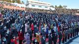 북한 청년·근로자·농민·여성 등 근로단체들이 노동당 제8차대회가 제시한 경제발전 5개년 계획의 첫해 과업을 관철하겠다며 평양시와 각 도에서 궐기 모임을 하는 모습.