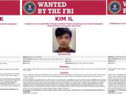 미국 연방수사국(FBI)은 지난 17일 북한의 정보기관인 정찰총국 소속 전창혁(31), 김일(27), 박진혁(36) 얼굴이 담긴 공개수배 전단지를 공개했다.