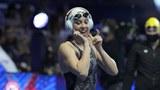 미국의 시에라 슈미트(23) 선수가 수영 시합을 앞두고 K-팝에 맞춰 춤을 추고 있다.
