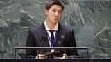 BTS 멤버인 RM이 지난 20일 유엔총회에서 연설을 하고 있다.