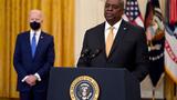 8일 백악관에서 열린 행사에서 발언하는 로이드 오스틴 미 국방부 장관.